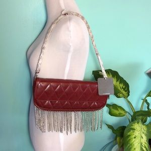 Handbags - NWT Zoa deep red faux leather purse with fringe